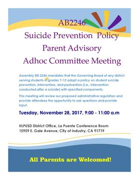 Suicide Prevention Policy Parent Advisory Adhoc Committee Meeting